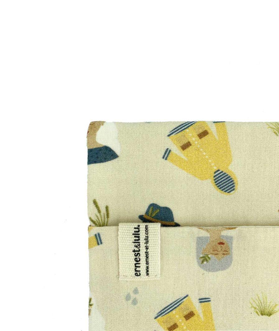 pochette en tissu pour mouchoirs cirés jaunes bretons - made in france - vintage