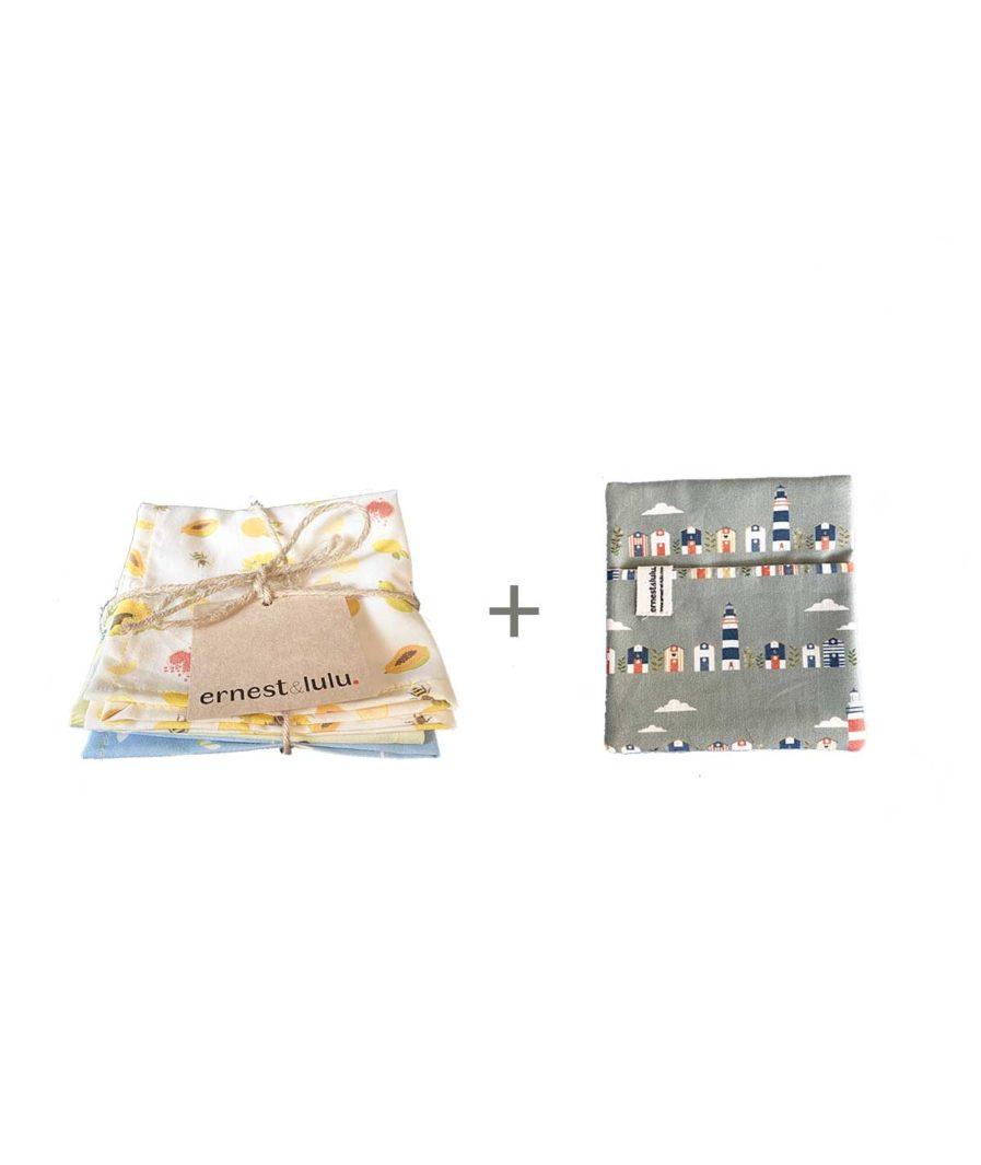 mouchoirs en tissu bio ernest et lulu agrumes - été - pochette - fabriqué en France