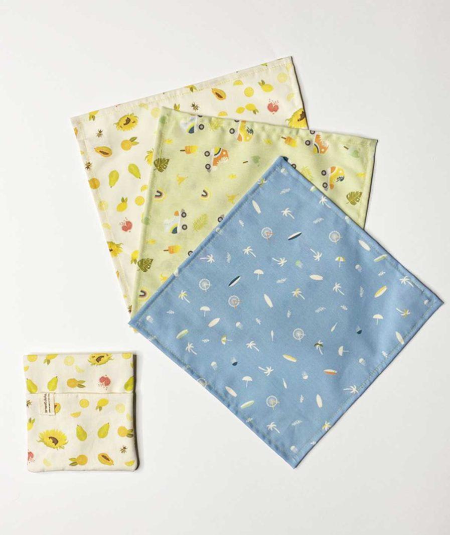 lot de trois mouchoirs en tissu et pochette bio coton fabriqué en france