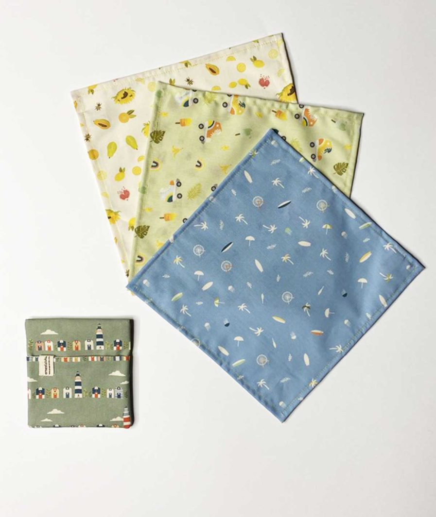 mouchoirs en tissu et pochette en tissu coton bio - zéro déchet - réutilsables