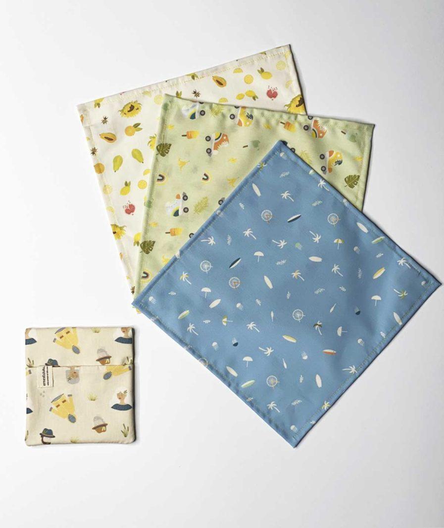 mouchoirs en tissu bio avec pochette ernest et lulu cirés jaunes - collections exclusives