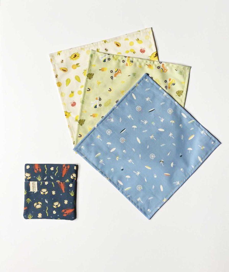 lot de mouchoirs en tissu bio ernest et lulu avec pochette made in france et zéro déchet