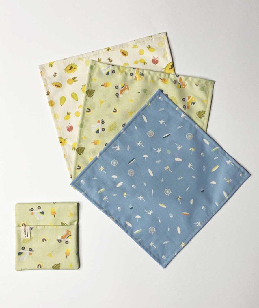 ernest et lulu mouchoirs en tissu bio lavables, réutilisables made in france