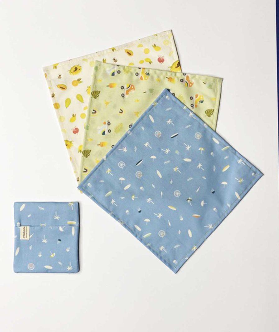 ernest et lulu - mouchoirs en tissu bio confection artisanale - motifs été