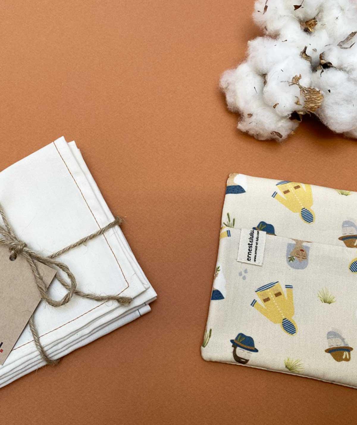 mouchoir en tissu blanc - fabrication francaise - artisanal - collections originales