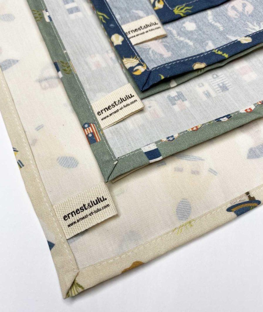 lot de trois mouchoirs en tissu bio zéro déchet - marque made in france et écologique