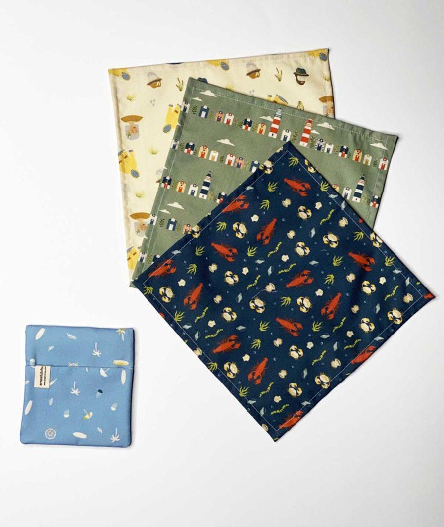 mouchoirs en tissu bio ernest&lulu - pochette surf et palmier pour mouchoirs - réutilisables et durables