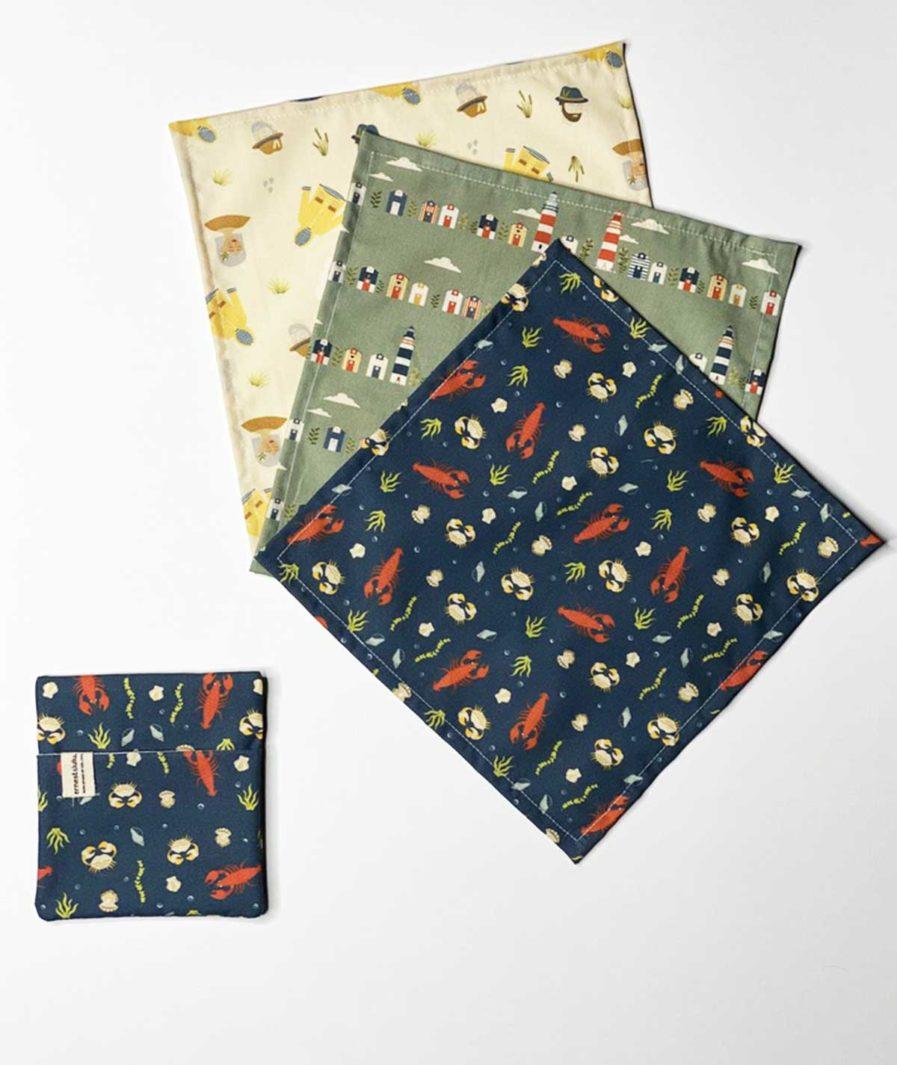 mouchoirs en tissu bio ernest et lulu - made in france - artisanal - vintage