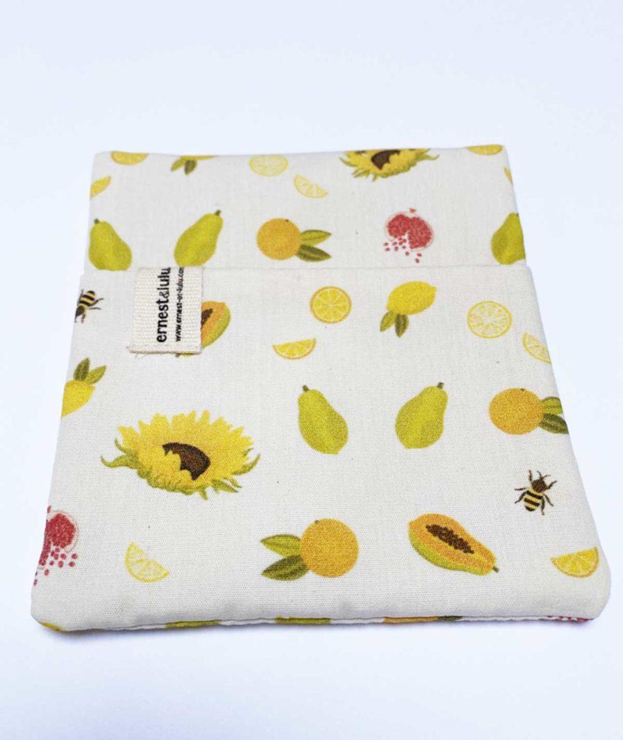 pochette en tissu bio pour mouchoirs agrumes et tournesols - made in france