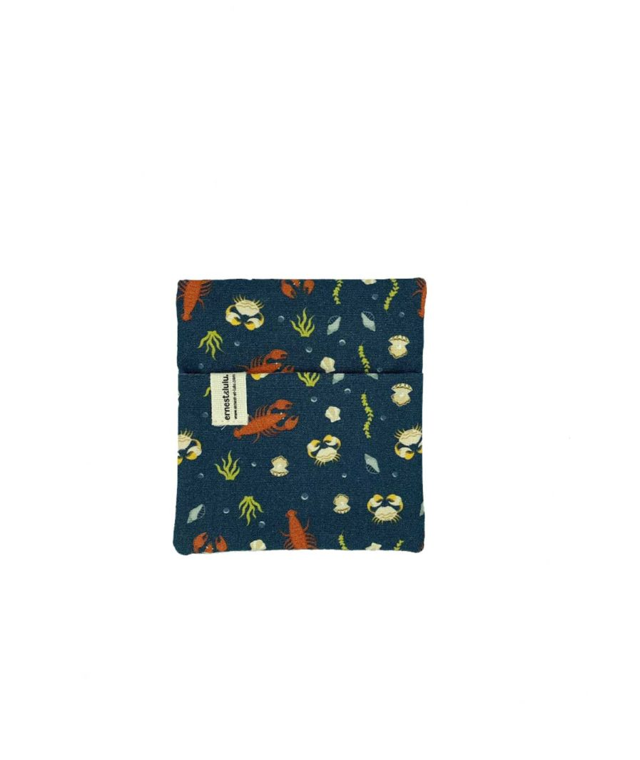 pochette en tissu pour mouchoirs coquillages et crustacés - made in france - vintage