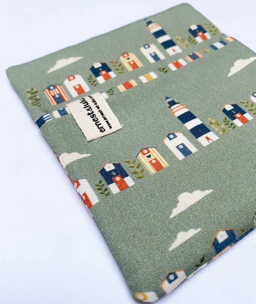 pochette en tissu bio pour mouchoirs cabanes de plage - made in france