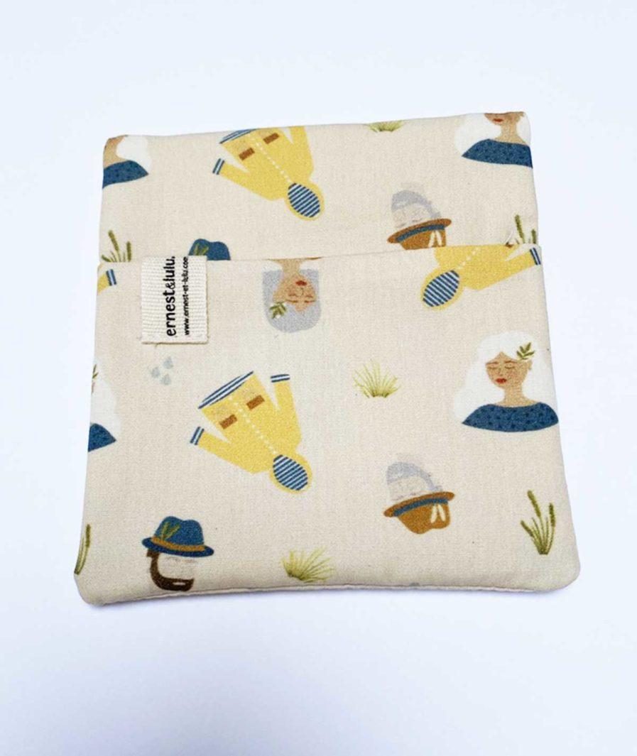 pochette en tissu bio pour mouchoirs cirés jaunes - made in france
