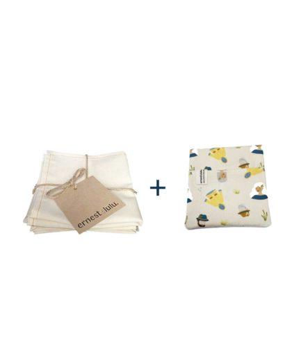 mouchoirs en tissu bio avec pochette cirés jaune - motifs été - reutilisable