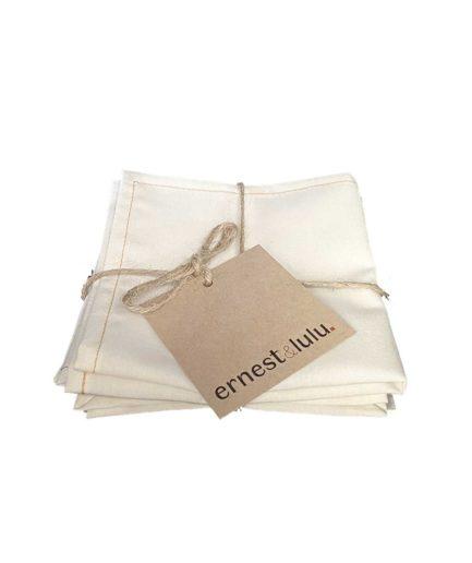 mouchoirs en tissu bio unis fabriqués en france - écru - zéro déchet