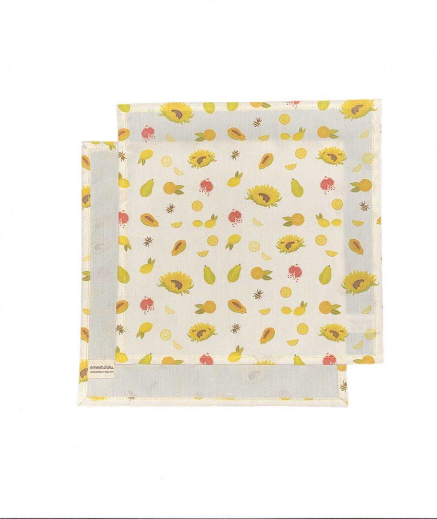 mouchoirs reutilisables motifs agrumes et tournesols - fabriqué en france