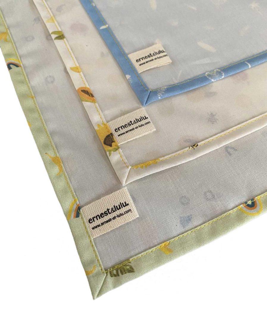 mouchoirs en tissu bio made in france - mouchoirs reutilisables - motifs été