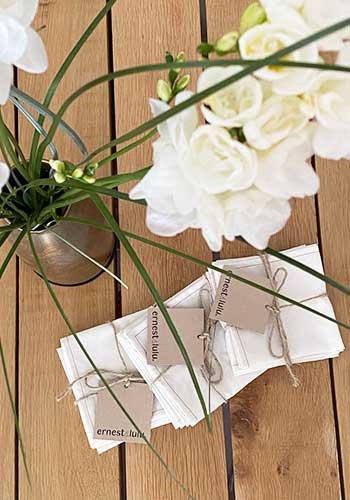mouchoirs en tissu bio unis, écru, fabriqués en france