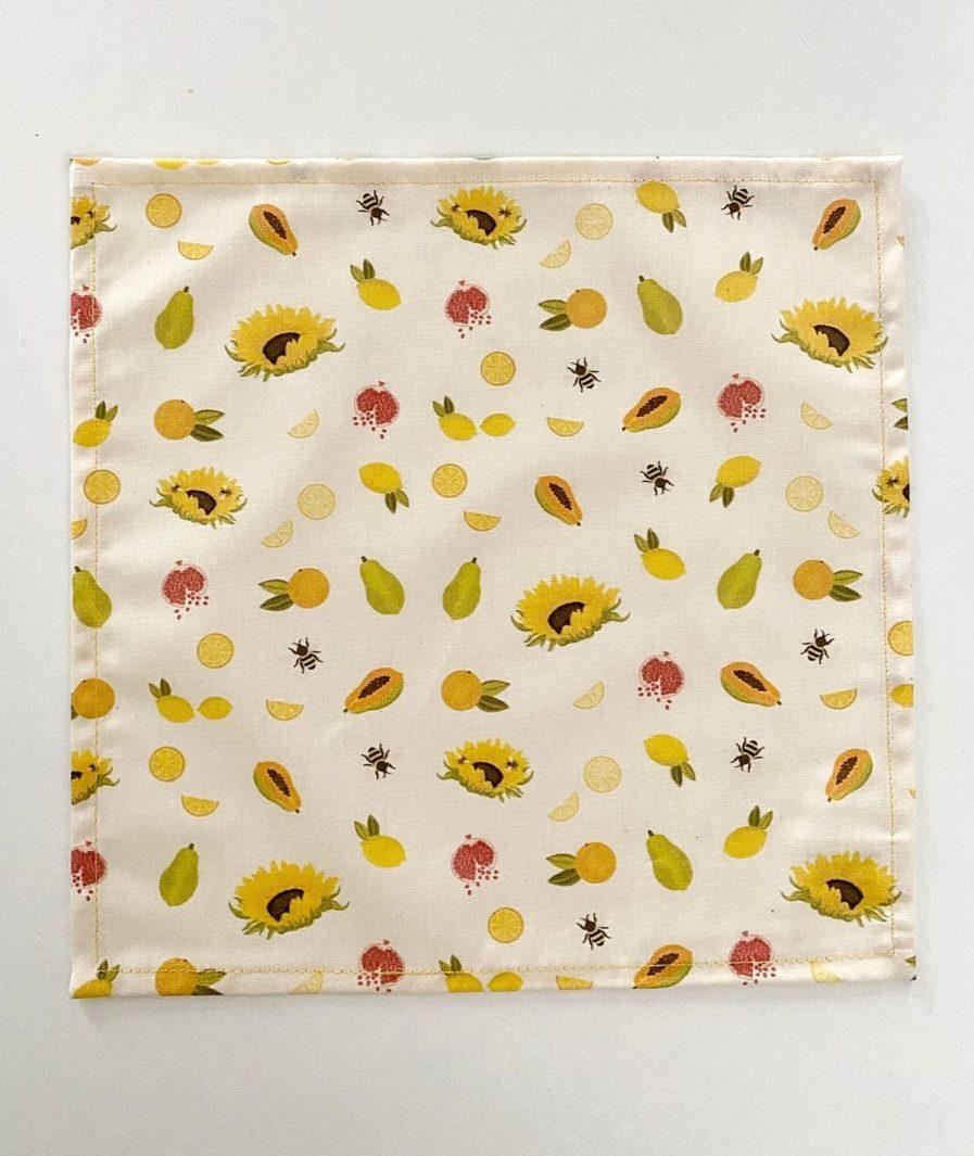 Mouchoir tissu motif imprimé agrumes et tournesols