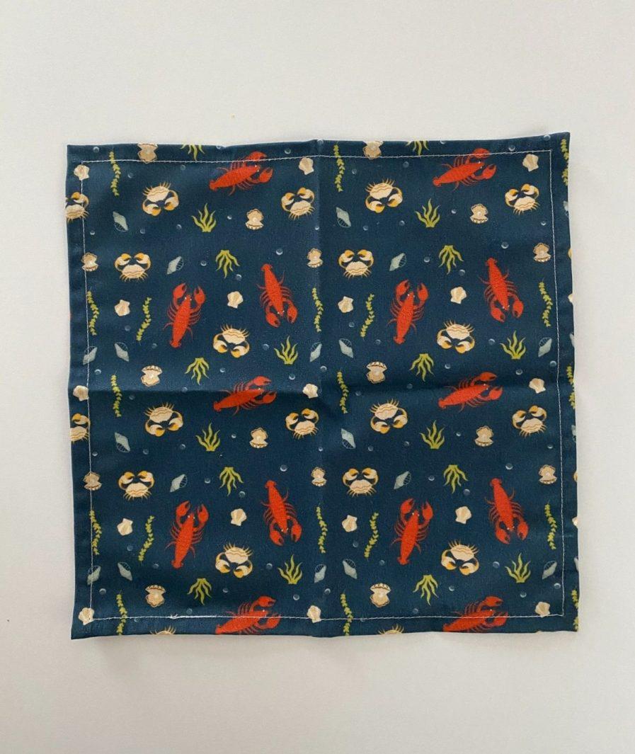 Mouchoir tissu motif imprimé coquillage et crustaces